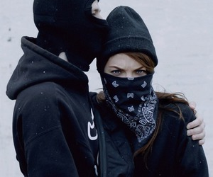 couple, gangsta, and black image