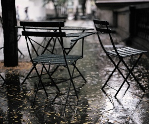 chair, rain, and photography image