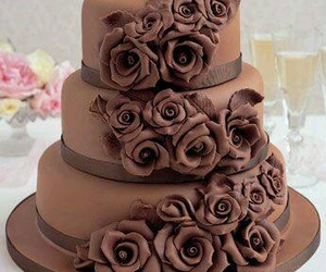 chocolate, cake, and flowers image