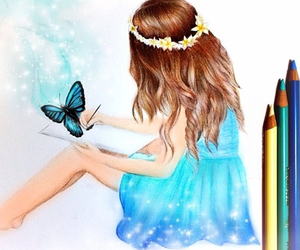 blue, butterfly, and girl image