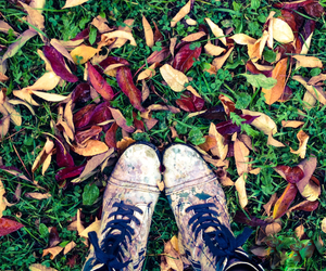 autumn, leaves, and boots image