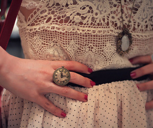 clock, fashion, and red nails image