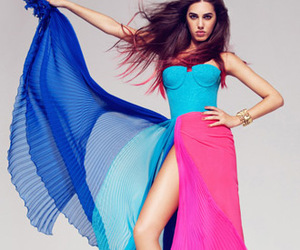 evening dress, color block, and front slit image