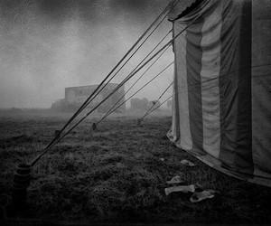 b&w, circus, and dark image