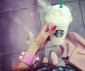 bag, bracelet, and coffee image