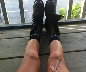 legs, smoke, and cigarette image