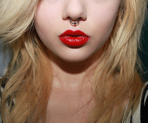 girl, lips, and piercing image