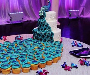 cake, peacock, and wedding image