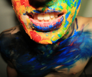 boy, paint, and colors image