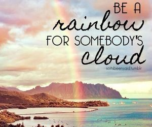 rainbow, quotes, and clouds image