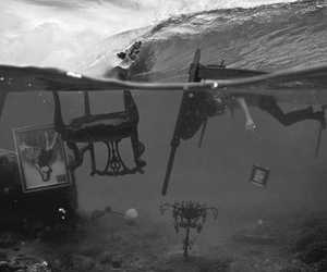 black and white, water, and sea image