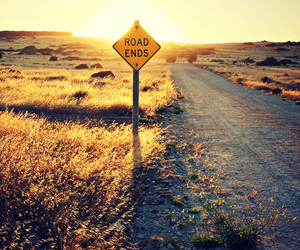 road, end, and sunset image