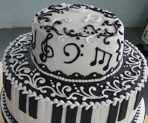 cake, music, and piano image
