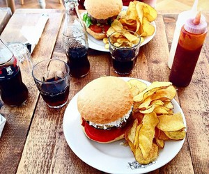 burger, chips, and food image