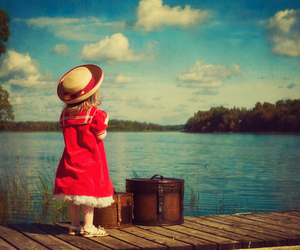 girl, lake, and red image
