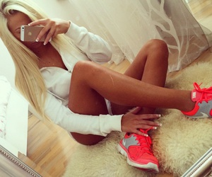 girl, blonde, and nike image