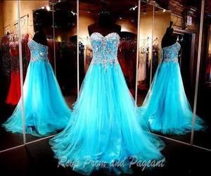 dress, blue, and long image