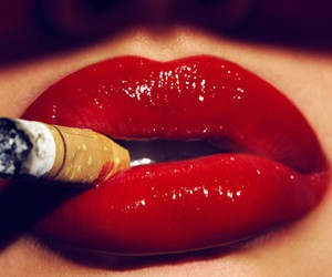 lips, red, and cigarette image