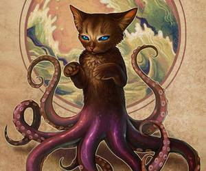 cat, art, and octopus image