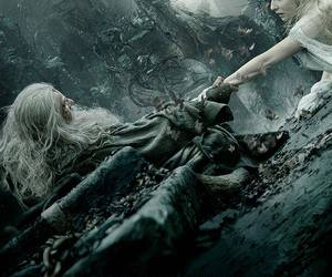 the hobbit, gandalf, and galadriel image