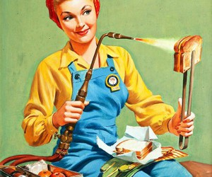 girl, welding, and lunch image