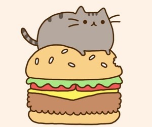 cat, pusheen, and burger image