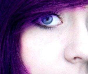 beautiful, blue eyes, and purple hair image