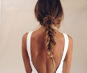 dress, white, and ombre hair image