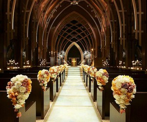church, flowers, and wedding image