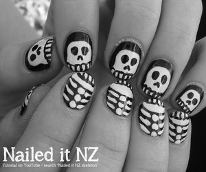 black and white, halloween 2014, and nail art image