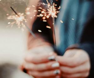 light, fireworks, and hands image