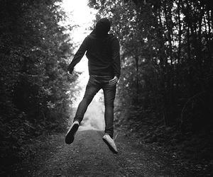 boy, jump, and trees image