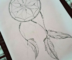 beautiful, draw, and dream catcher image