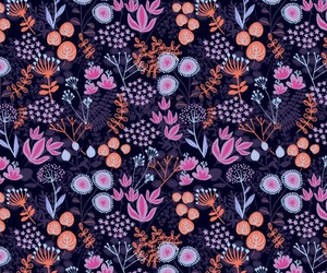 pattern, flowers, and orange image