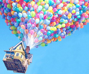 up, balloons, and house image