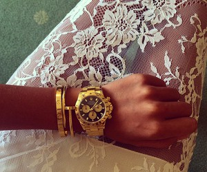 gold, watch, and lace image
