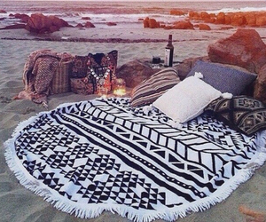beach, summer, and bed image