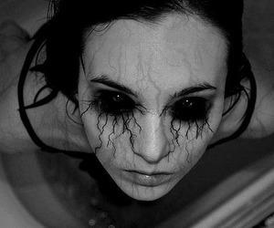 eyes, black and white, and dark image