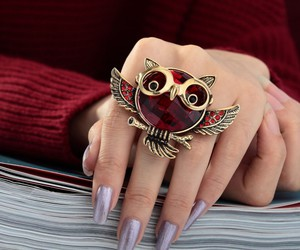 vintage owl ring, crystal owl ring, and soaring owl ring image