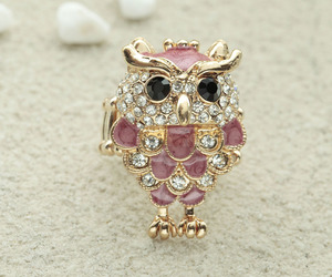 owl ring, enamel owl ring, and stretch owl ring image