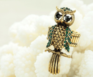 vintage owl rings, crystal owl rings, and gold owl rings image