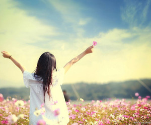 girl, flowers, and sky image