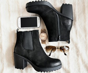 boots, chunky heels, and chunky shoes image