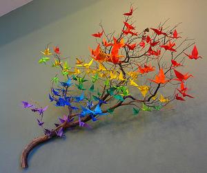 origami, rainbow, and tree image