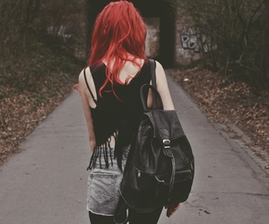 colorful, girl, and red hair image