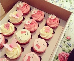 cupcake, hello kitty, and pink image
