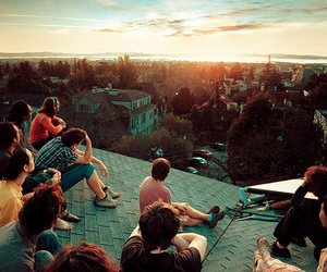friends, sunset, and roof image