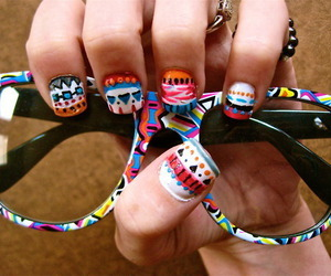 colors, glasses, and nail art image