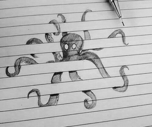 drawing, octopus, and art image