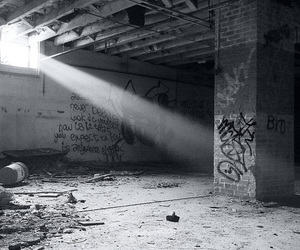 black and white, graffiti, and light image